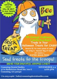 Cumming Dental Smiles Halloween Candy Buy Back Event